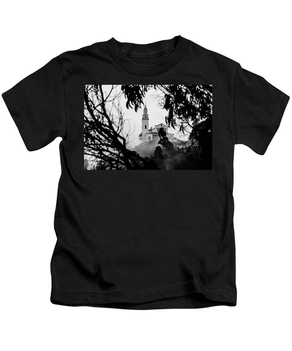 America Kids T-Shirt featuring the photograph Misty View Of Monserrate Church by Jess Kraft