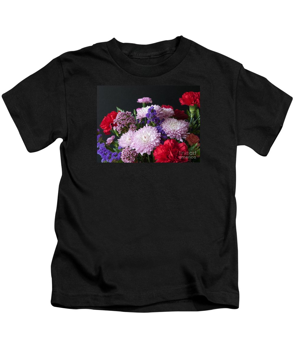 Bouquet Kids T-Shirt featuring the photograph Mixed Posies by Ann Horn