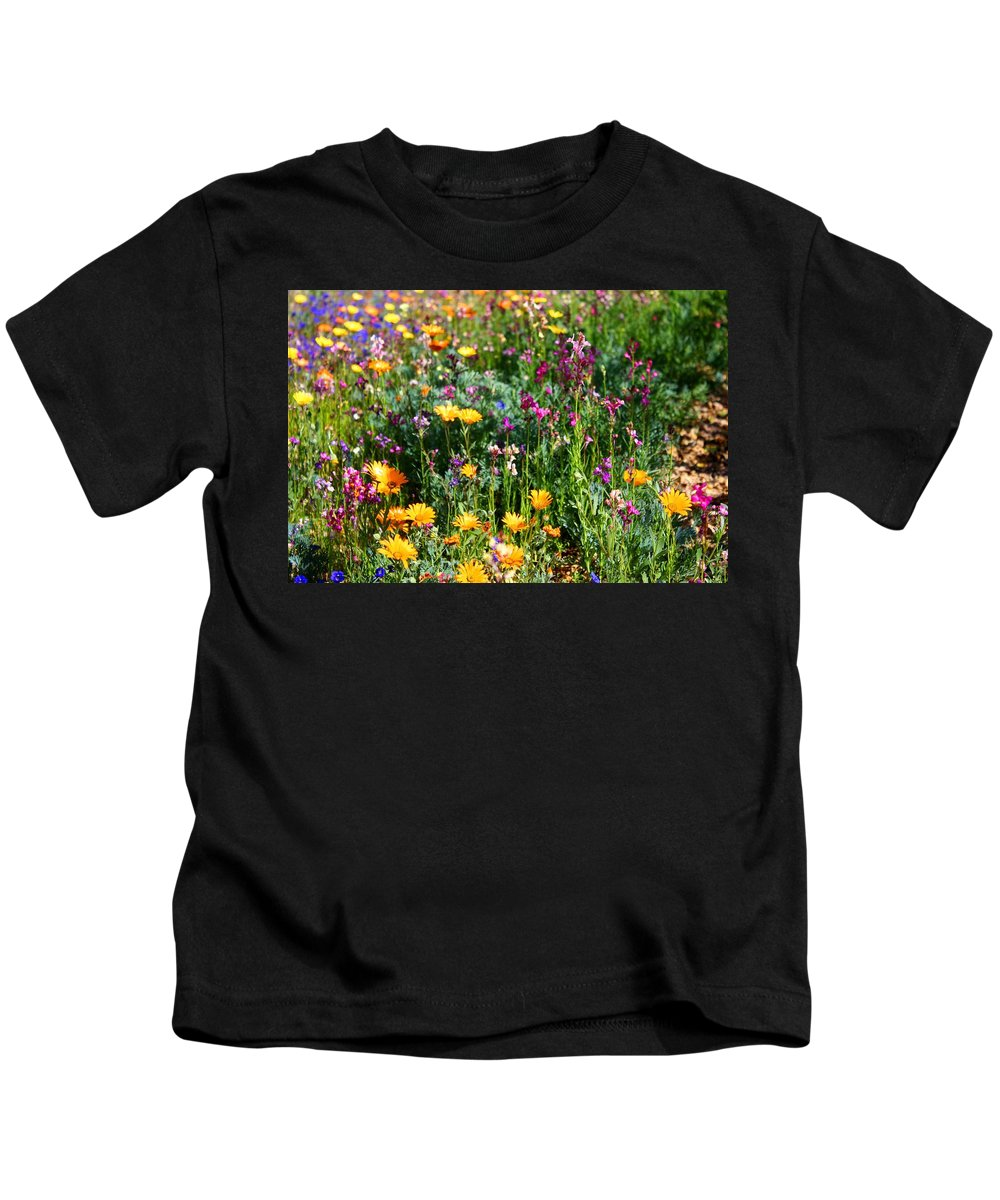 Wildflower Kids T-Shirt featuring the photograph Mixed Wildflowers by Kathryn Meyer