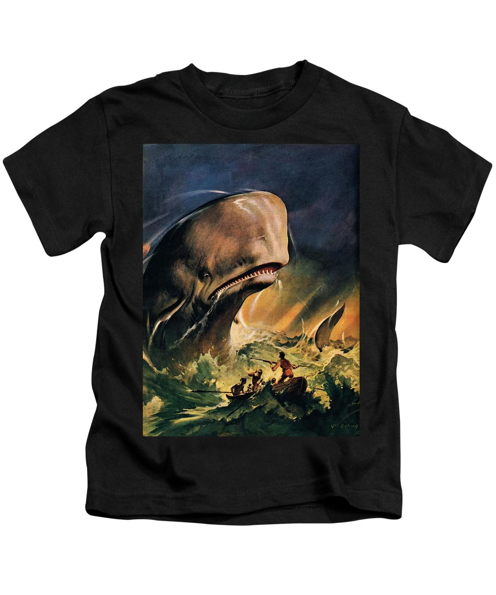 Moby Dick Kids T-Shirt featuring the painting Moby Dick by James Edwin McConnell