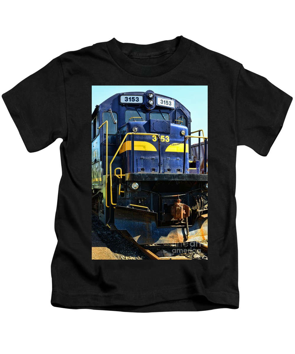 Paul Ward Kids T-Shirt featuring the photograph Modern Train Engine by Paul Ward