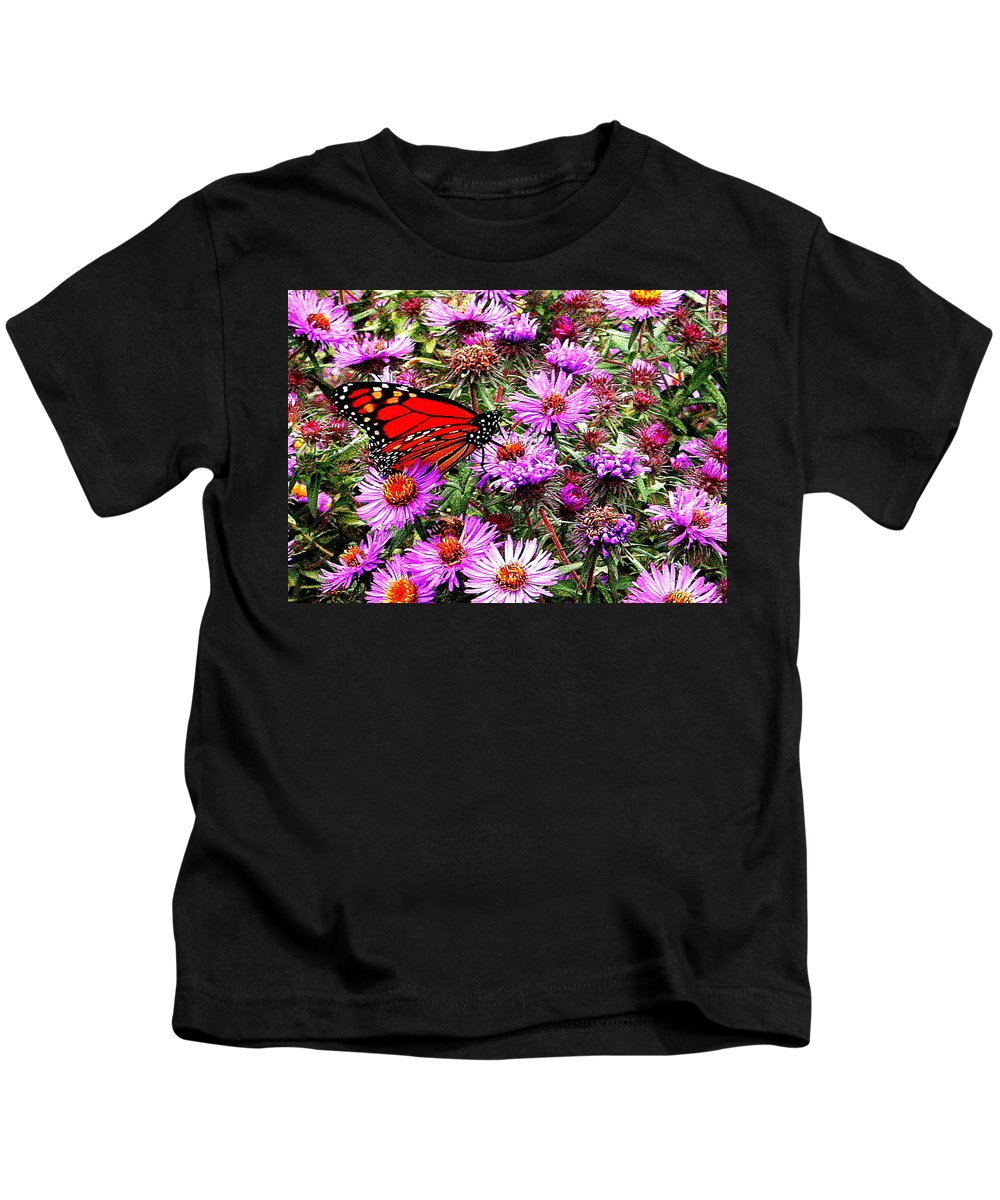 Monarch Kids T-Shirt featuring the photograph Monarch Among The Asters by Laurel Talabere