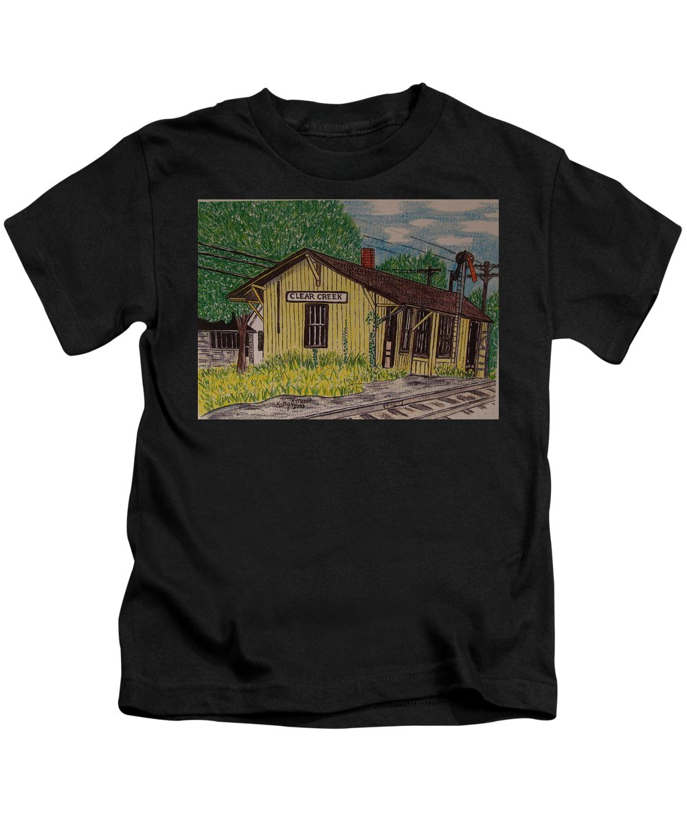 Monon. Monon Train Kids T-Shirt featuring the painting Monon Clear Creek Indiana Train Depot by Kathy Marrs Chandler