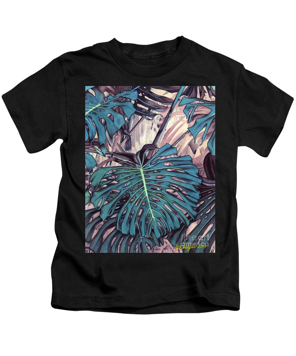 Hawaii Kids T-Shirt featuring the painting Monstera Blues by DK Nagano