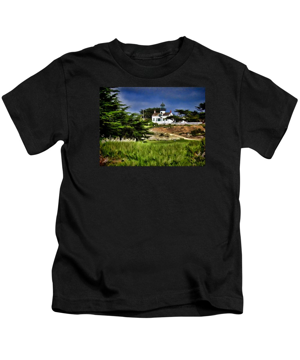 Warning Kids T-Shirt featuring the photograph Monterey Lighthouse by Peter Hogg