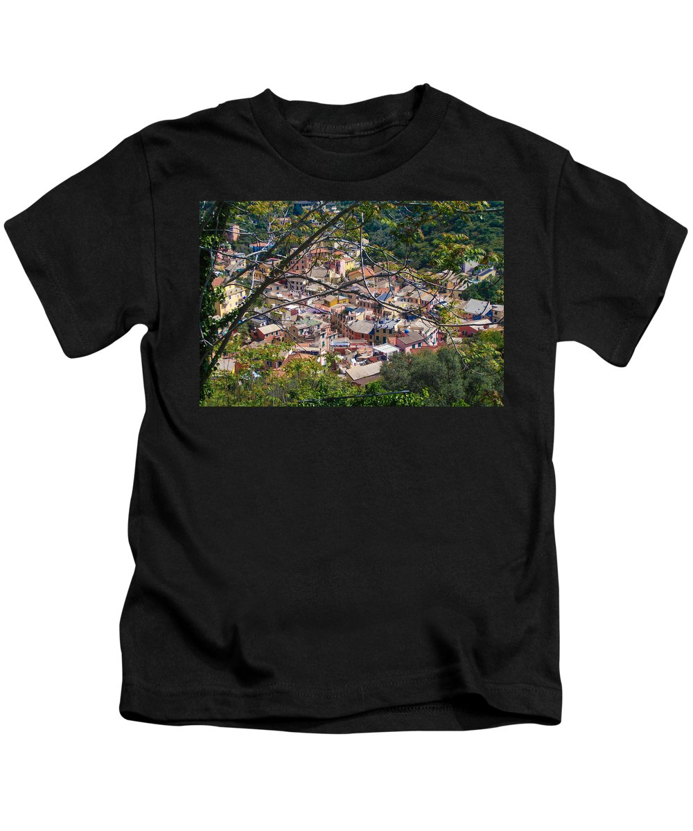Monterosso Kids T-Shirt featuring the photograph Monterosso From Above - Cinque Terre by Dany Lison
