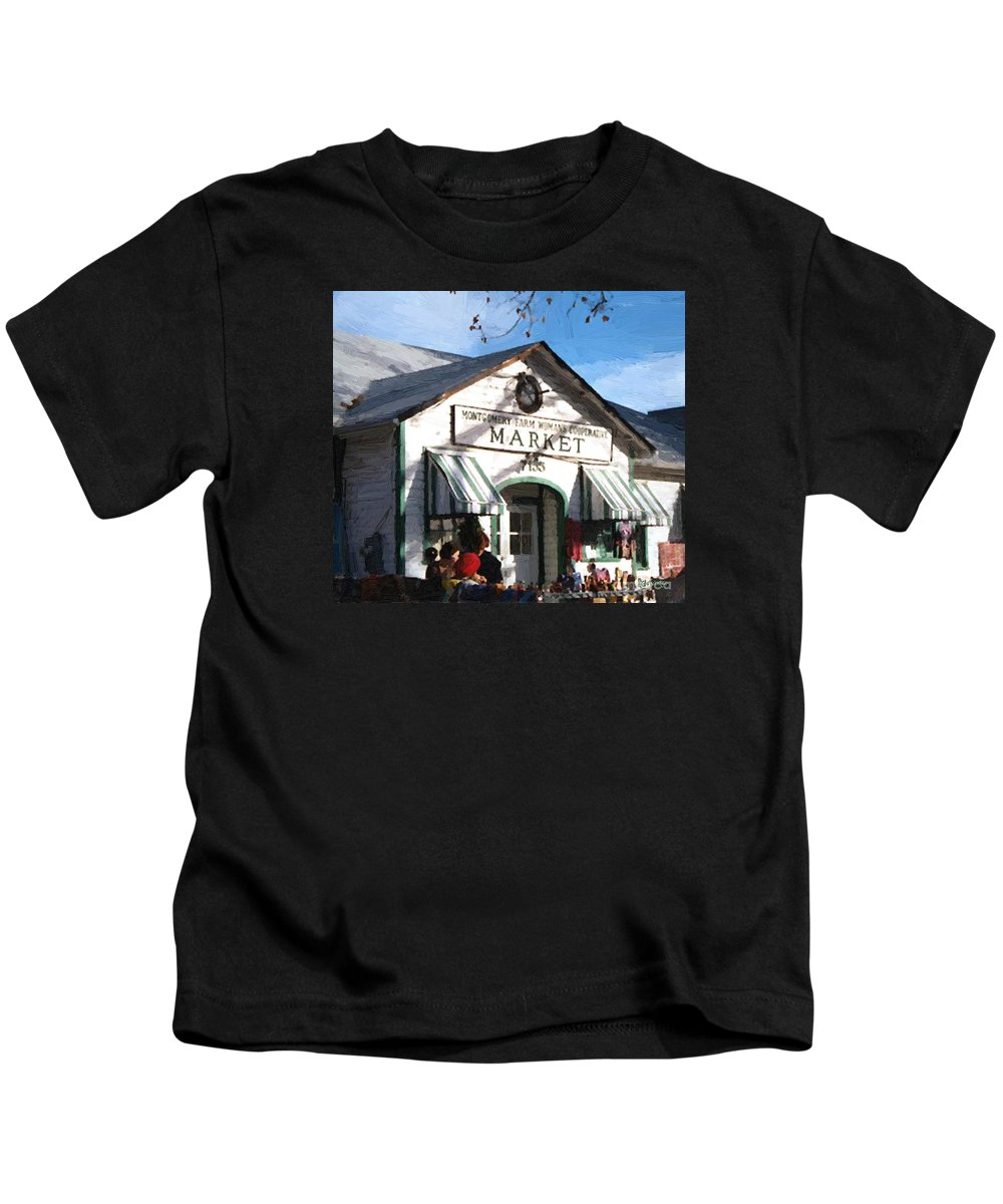 Americana Kids T-Shirt featuring the painting Montgomery County Market by RC deWinter