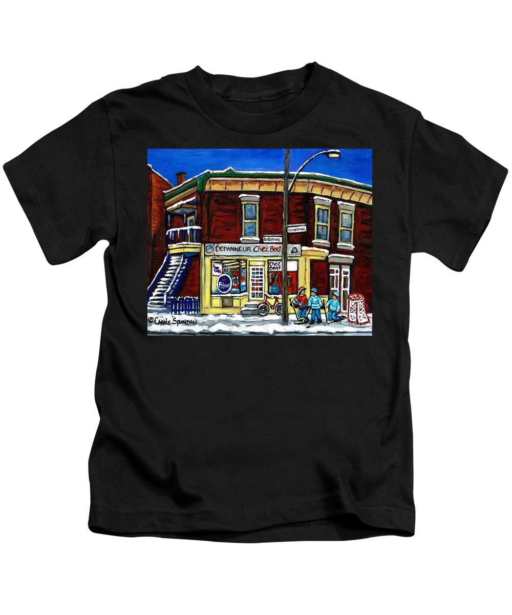 Chez Bert Kids T-Shirt featuring the painting Montreal Art Hockey Paintings Chez Bert Depanneur The Pointe Verdun City Scene Carole Spandau by Carole Spandau