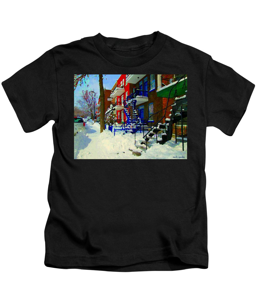 Montreal Kids T-Shirt featuring the painting Montreal Art Streets Of Verdun Winter Scenes Winding Staircases Snowscenes Carole Spandau by Carole Spandau