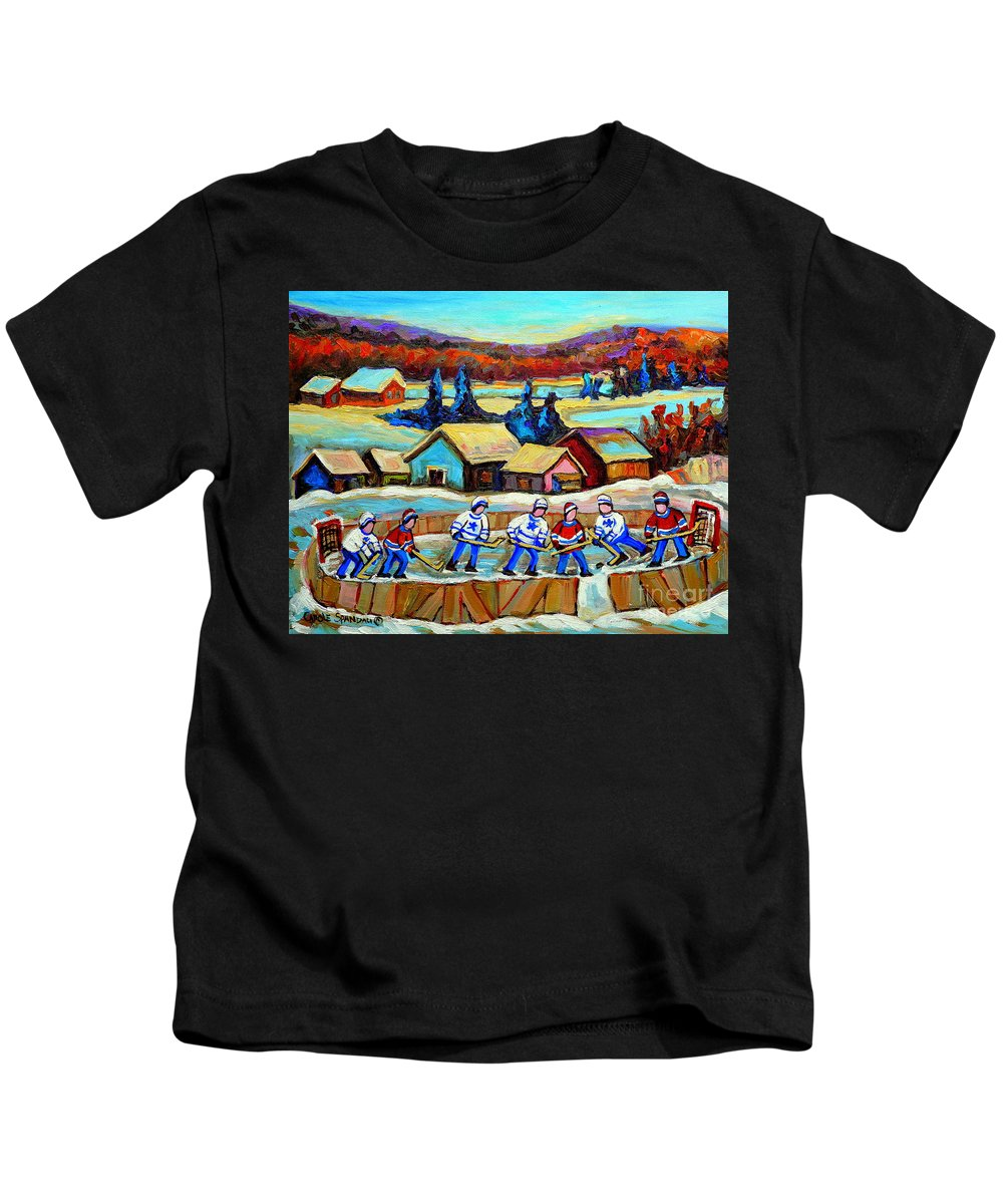 Pond Hockey Kids T-Shirt featuring the painting Montreal Memories Rink Hockey In The Country Hockey Our National Pastime Carole Spandau Paintings by Carole Spandau