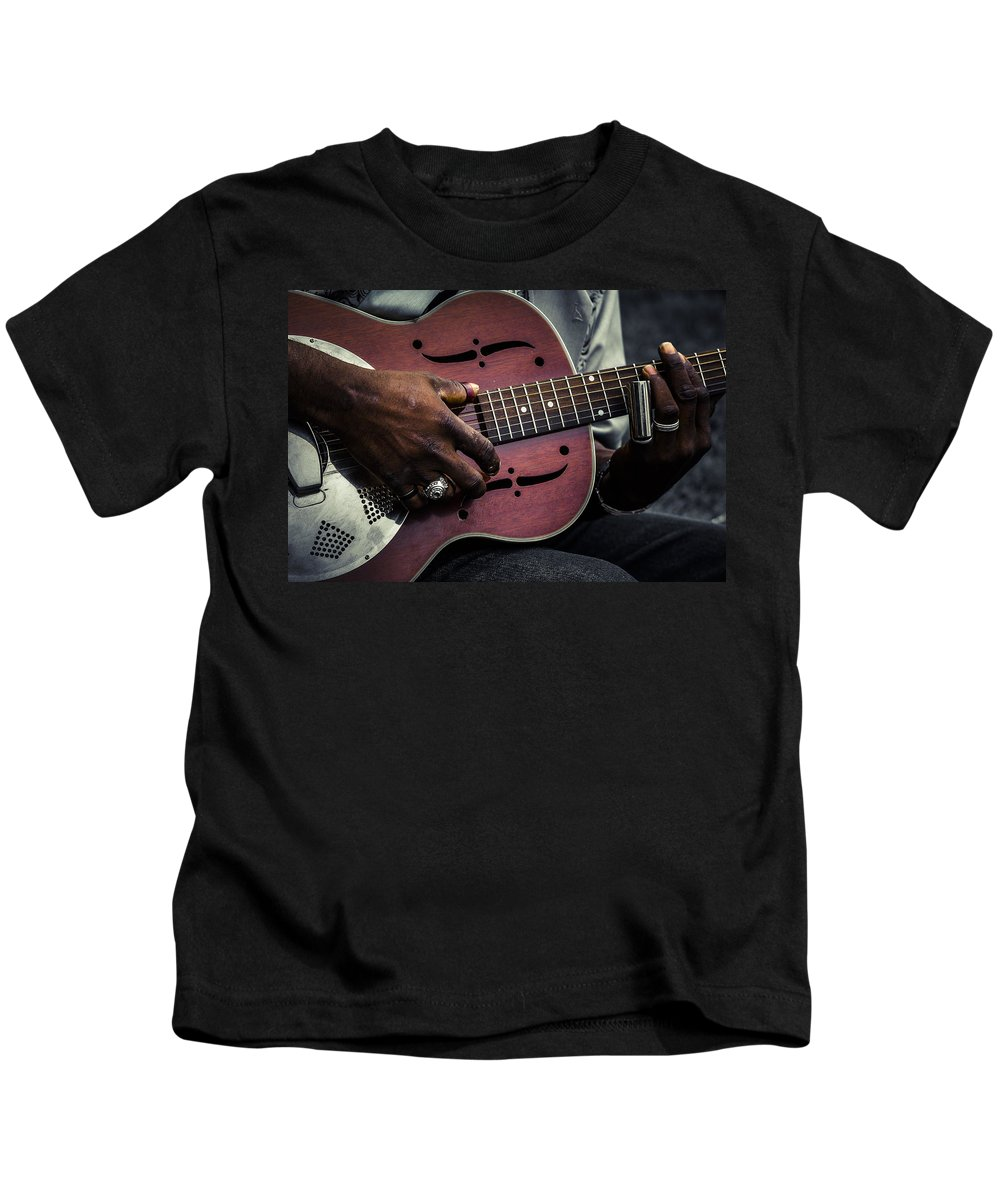 Guitar Kids T-Shirt featuring the photograph Moody Blues On Steel by Scott Campbell