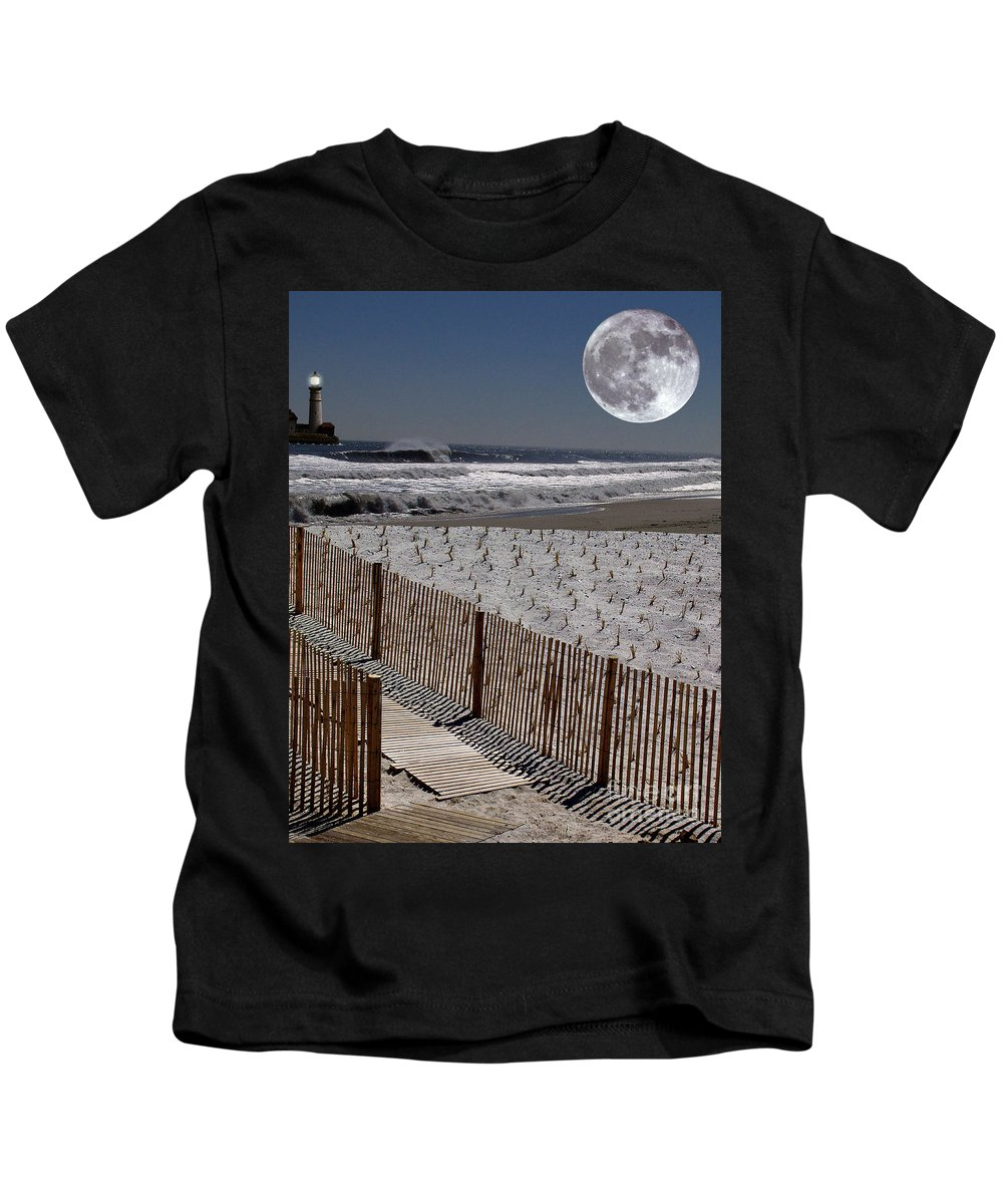 Water Kids T-Shirt featuring the digital art Moon Bay by Keith Dillon