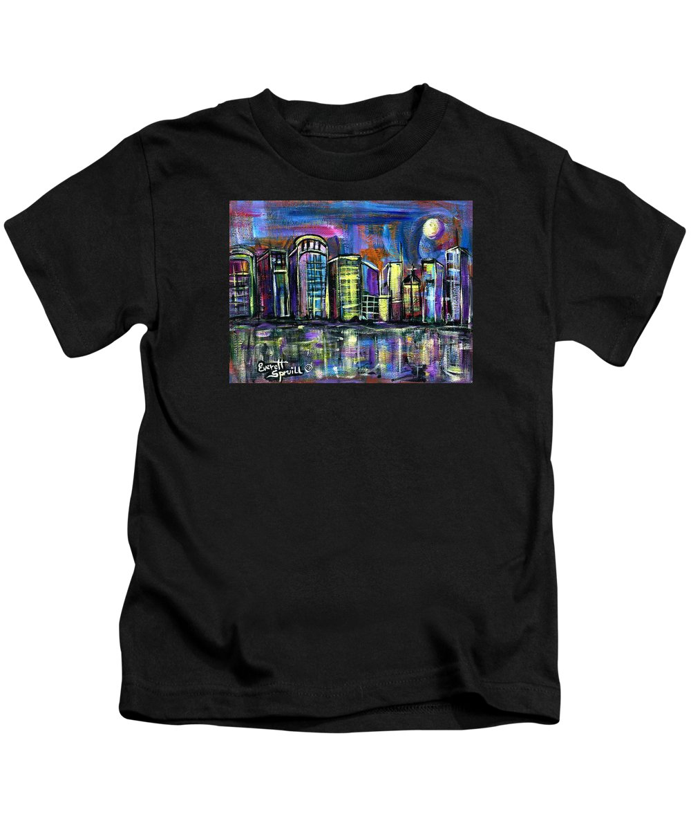 Everett Spruill Kids T-Shirt featuring the painting Moon Over Orlando by Everett Spruill