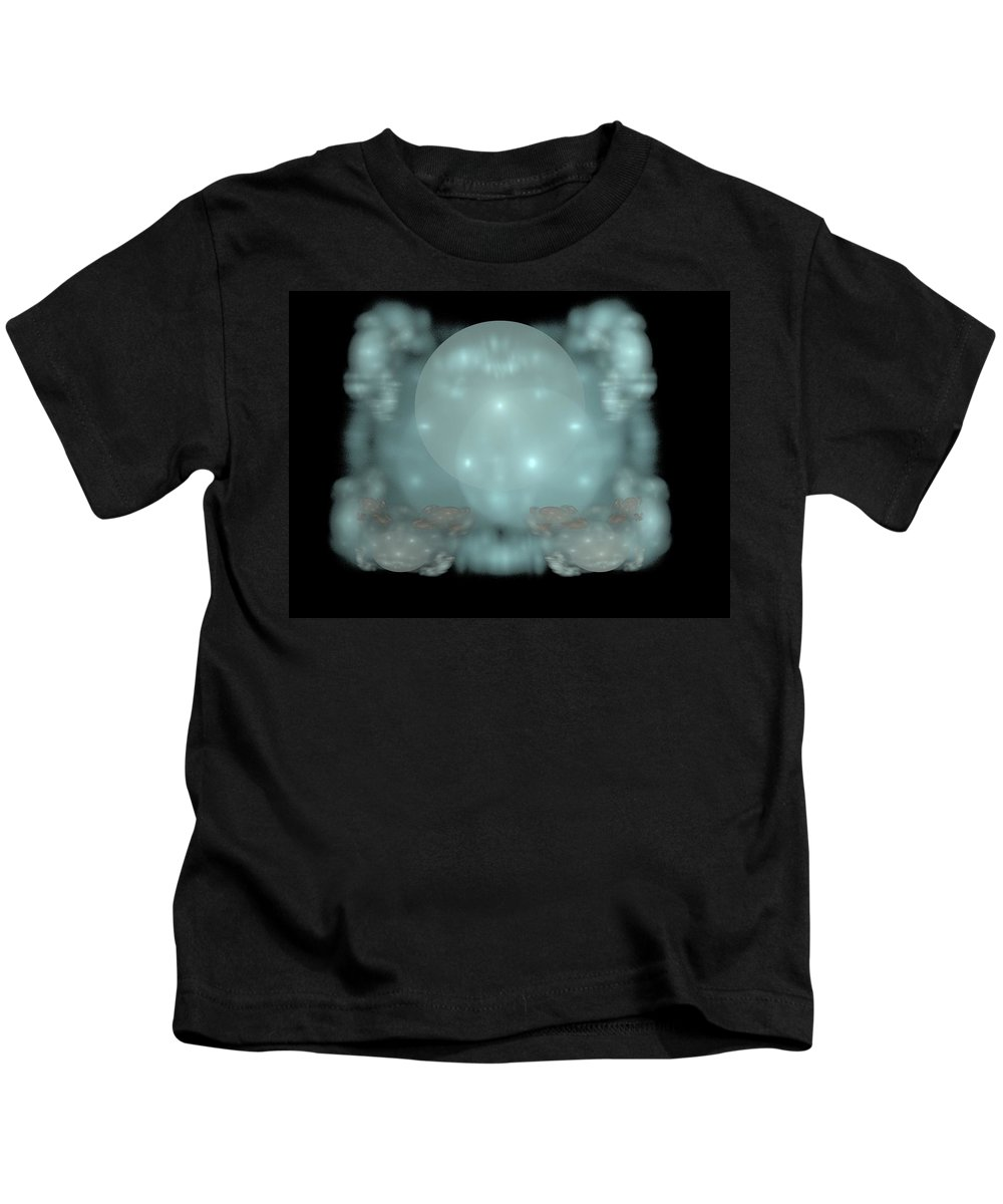 Fractal Kids T-Shirt featuring the painting Moon Stars And Clouds by Bruce Nutting