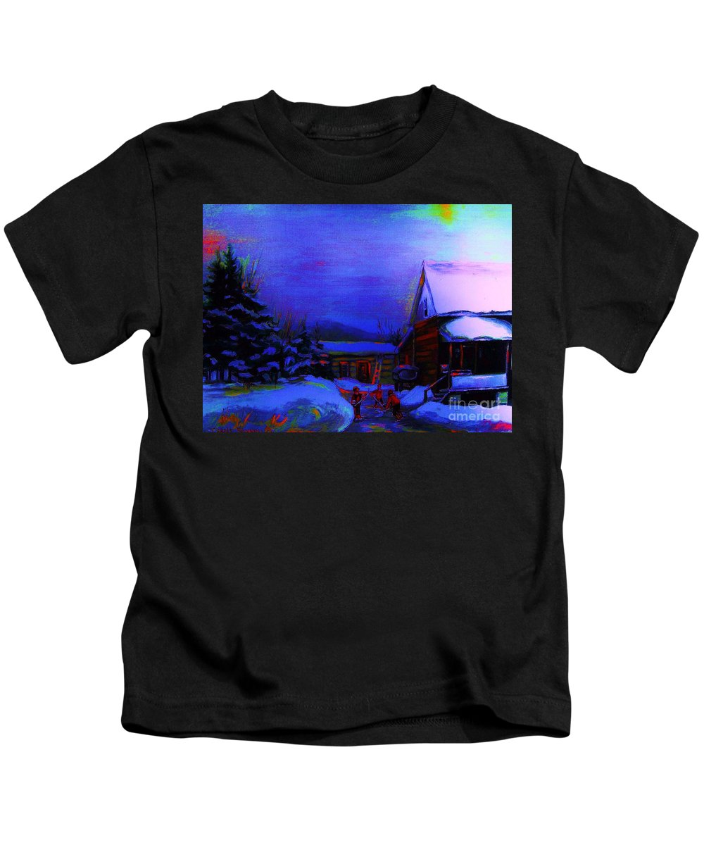 Hockey Kids T-Shirt featuring the painting Moonglow On Powder by Carole Spandau