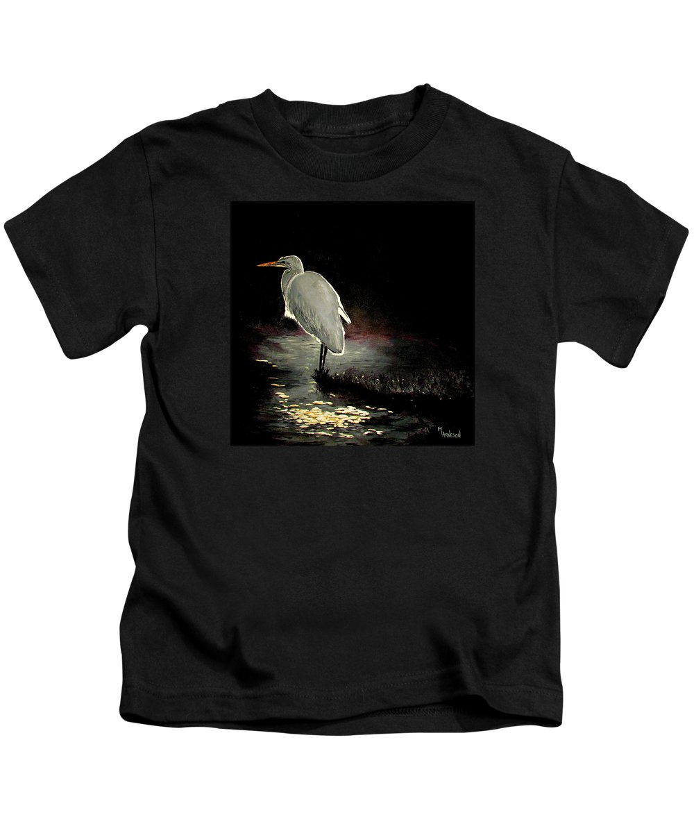 Egret Kids T-Shirt featuring the painting Moonlight Dance by Mary Arneson