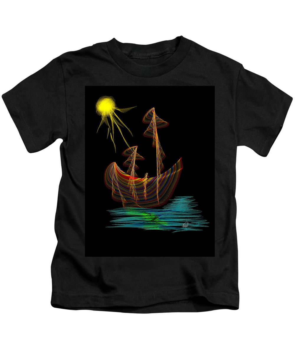 Moon Kids T-Shirt featuring the painting Moonshine Sailing by Angela Stanton