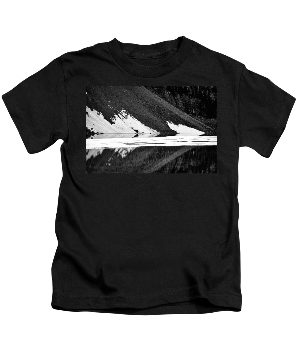 Moraine Lake Kids T-Shirt featuring the photograph Moraine Lake Abstract - Black And White #2 by Stuart Litoff