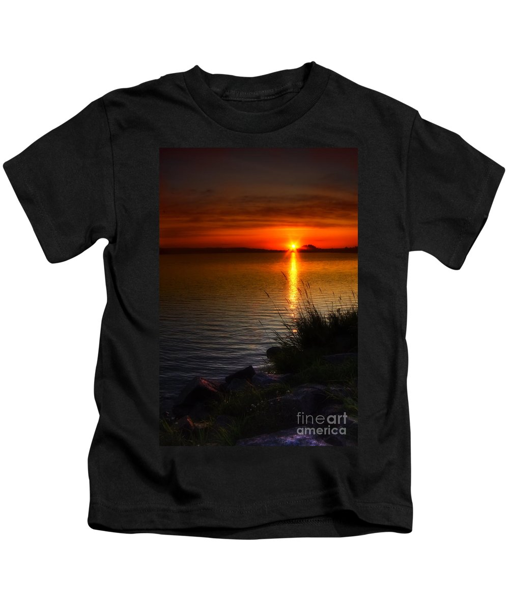 Art Kids T-Shirt featuring the photograph Morning By The Shore by Veikko Suikkanen