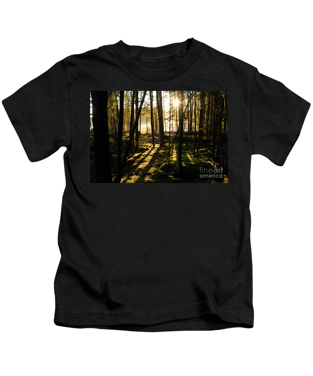 Photography Kids T-Shirt featuring the photograph Morning In Canoe Country by Larry Ricker