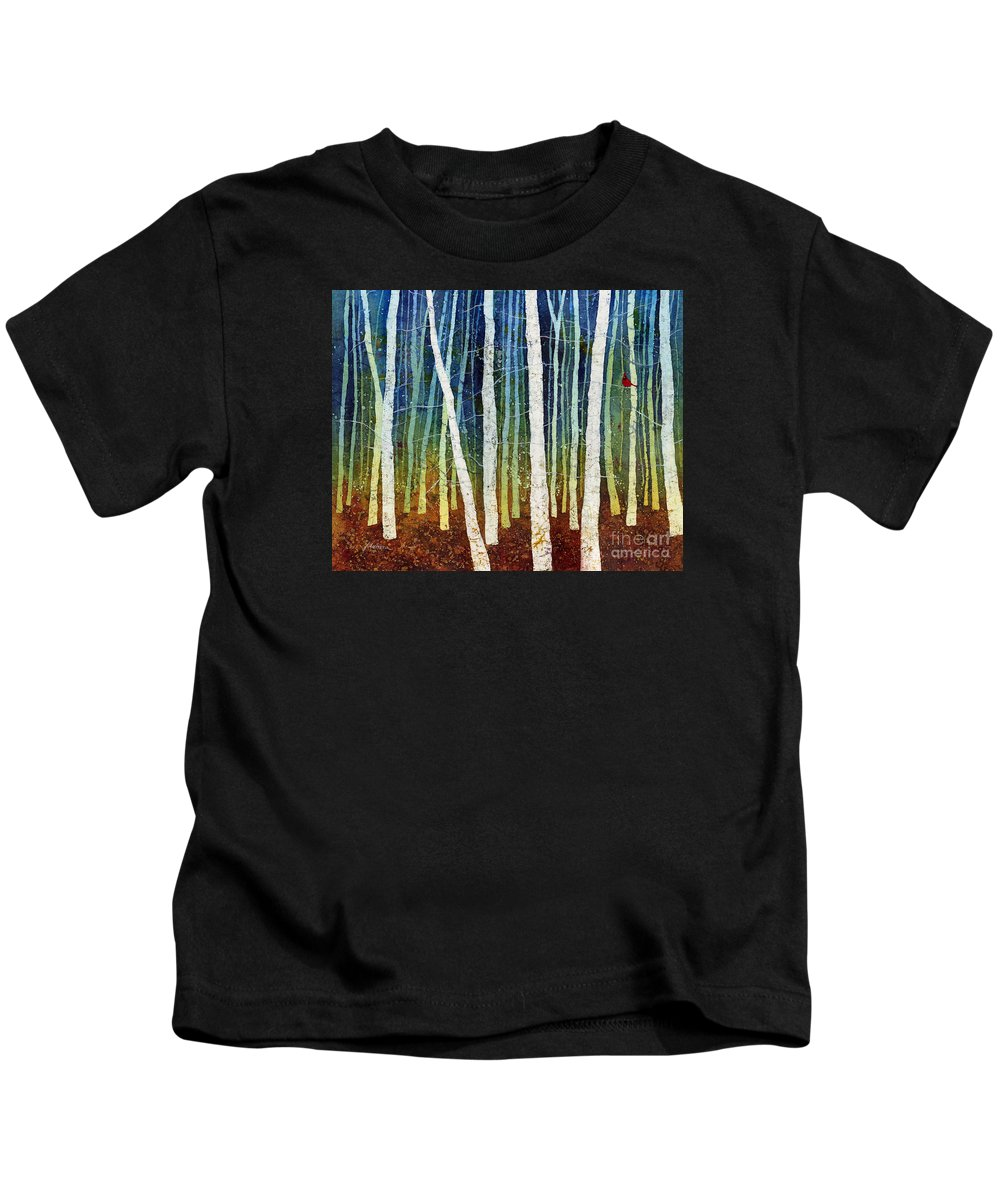 Cardinal Kids T-Shirt featuring the painting Morning Song 3 by Hailey E Herrera