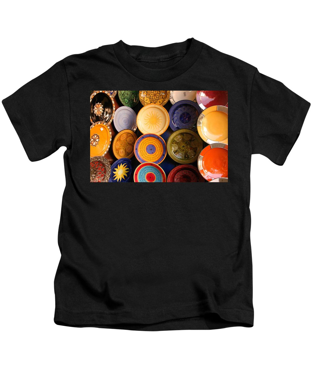 Morocco Kids T-Shirt featuring the photograph Moroccan Pottery On Display For Sale by Ralph A Ledergerber-Photography