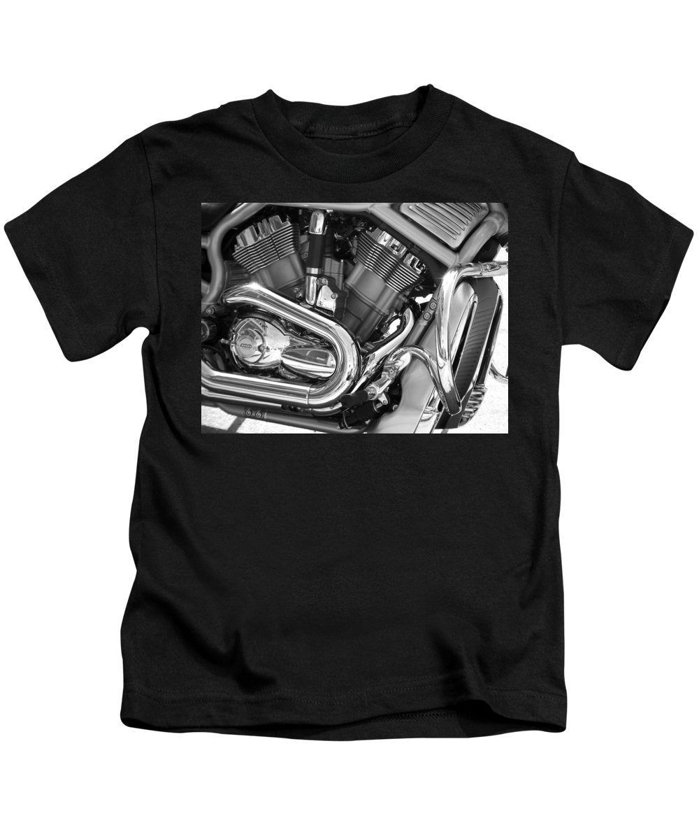 Motorcycles Kids T-Shirt featuring the photograph Motorcycle Close-up Bw 1 by Anita Burgermeister