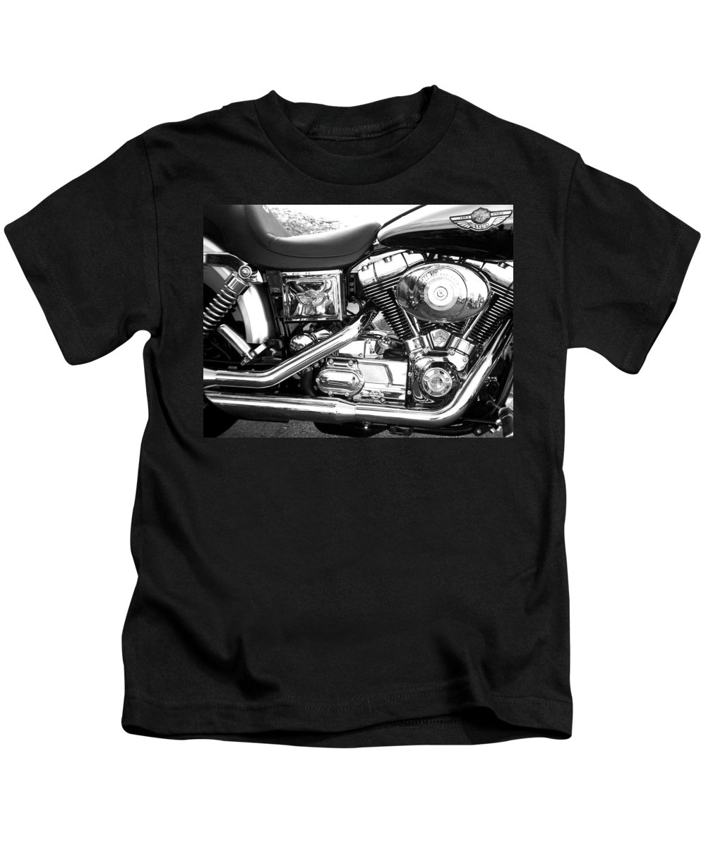 Motorcycles Kids T-Shirt featuring the photograph Motorcycle Close-up Bw 3 by Anita Burgermeister