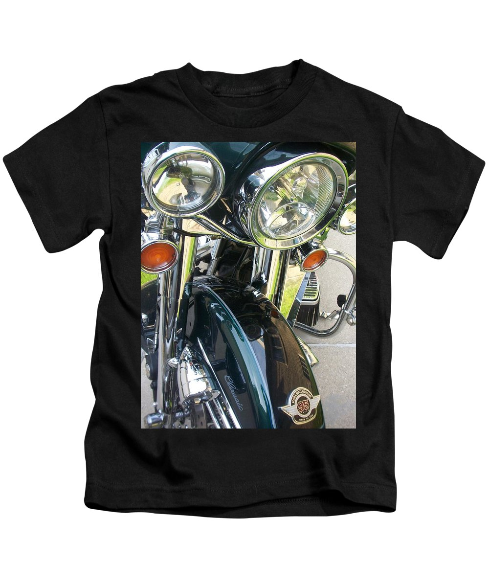 Motorcycles Kids T-Shirt featuring the photograph Motorcyle Classic Headlight by Anita Burgermeister