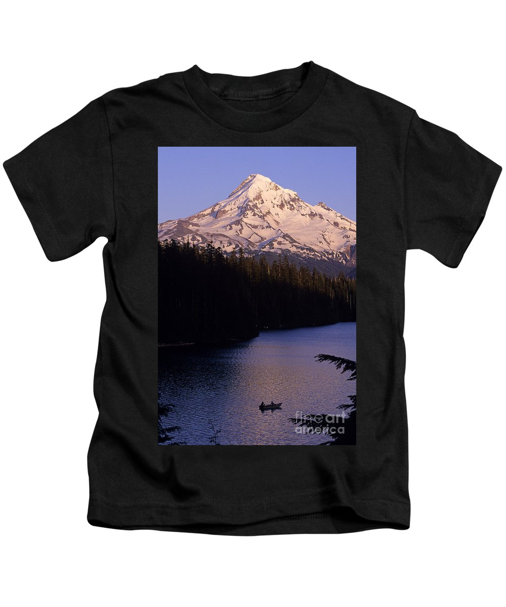Cascade Mountain Range Kids T-Shirt featuring the photograph Mount Hood With Kids In Row Boat Silhouetted by Jim Corwin