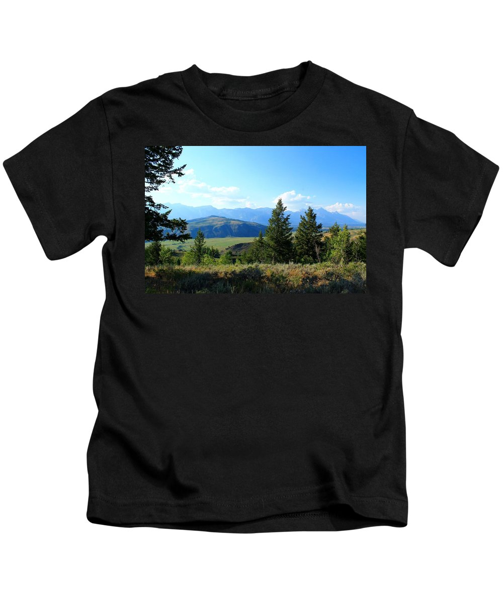 Grand Teton Mountains Kids T-Shirt featuring the photograph Mountain View by Catie Canetti