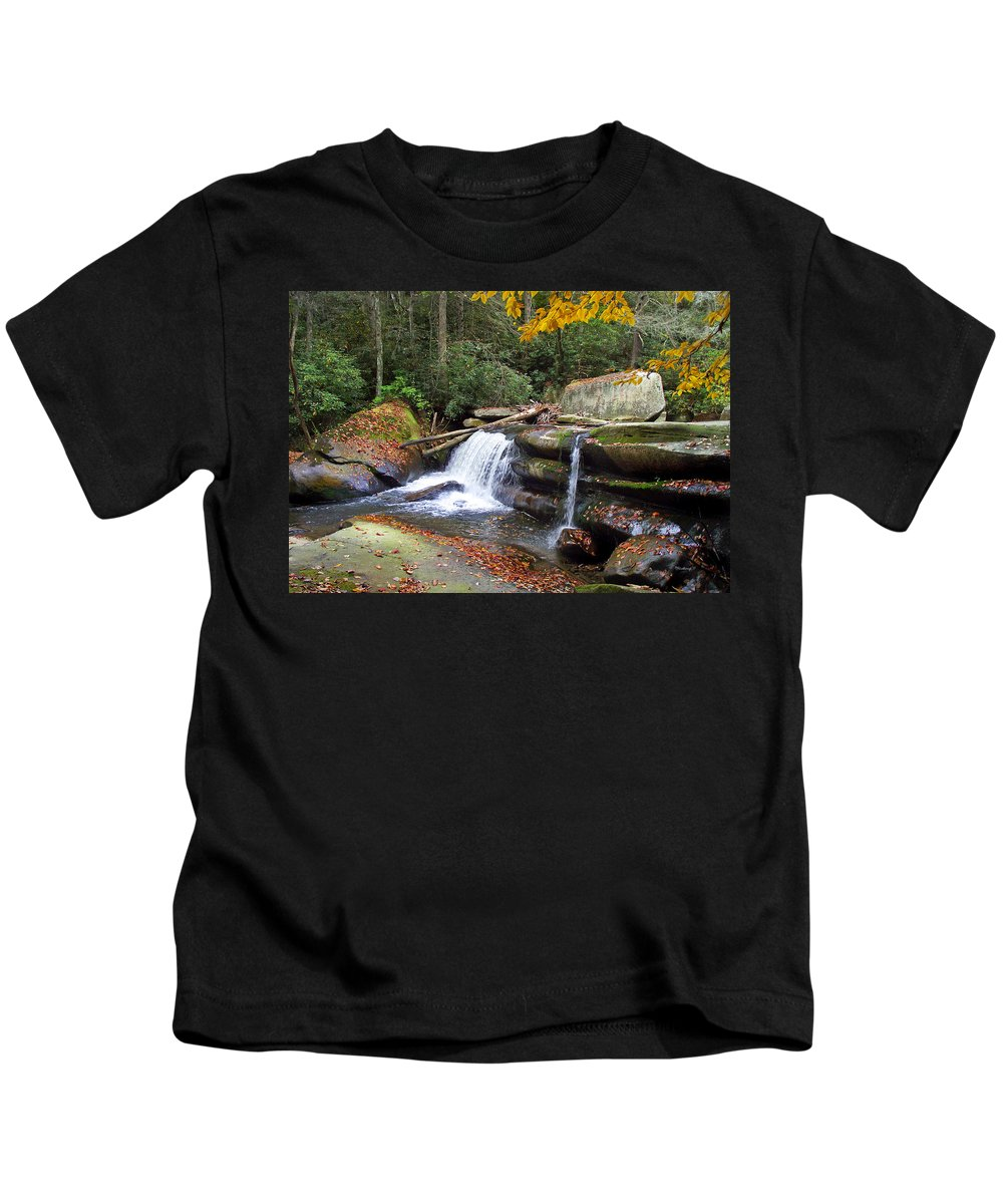 Waterfall Kids T-Shirt featuring the photograph Mountain Waterfall by Duane McCullough