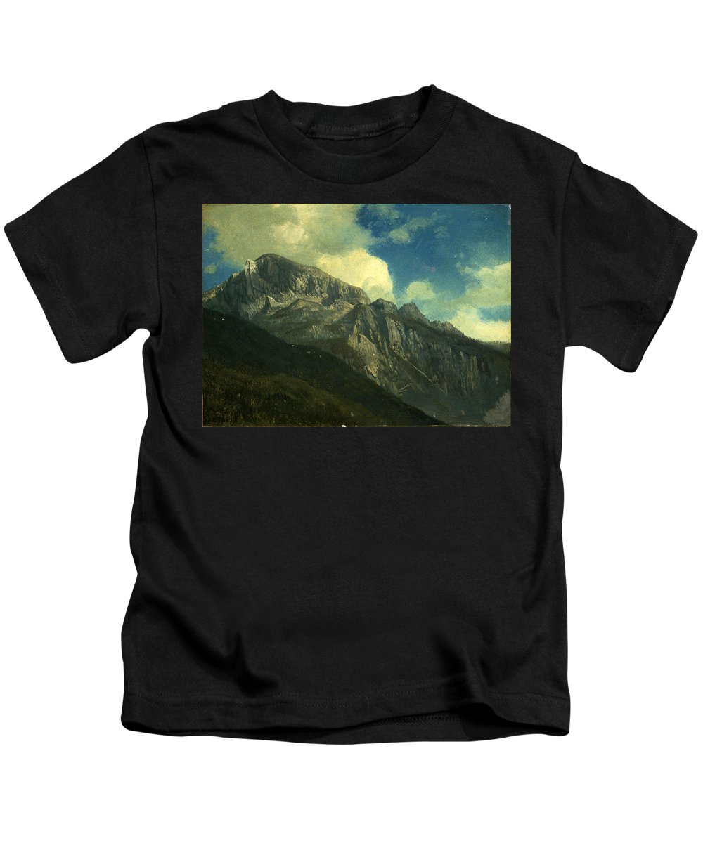 Mountainsalbert Bierstadt Kids T-Shirt featuring the painting Mountains by Albert Bierstadt