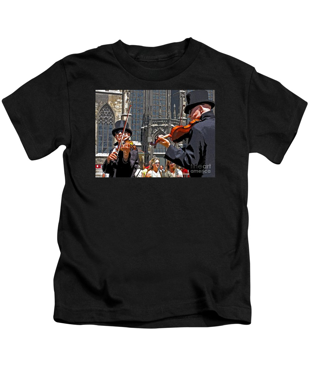 Buskers Kids T-Shirt featuring the photograph Mozart In Masquerade by Ann Horn
