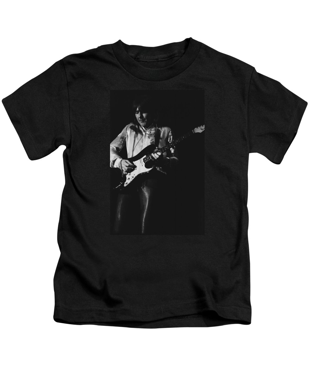 Mick Ralphs Kids T-Shirt featuring the photograph Mick On The Rock And Roll Guitar by Ben Upham