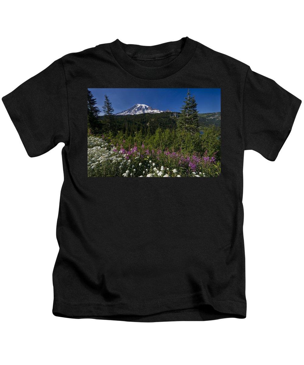 3scape Kids T-Shirt featuring the photograph Mt. Rainier by Adam Romanowicz