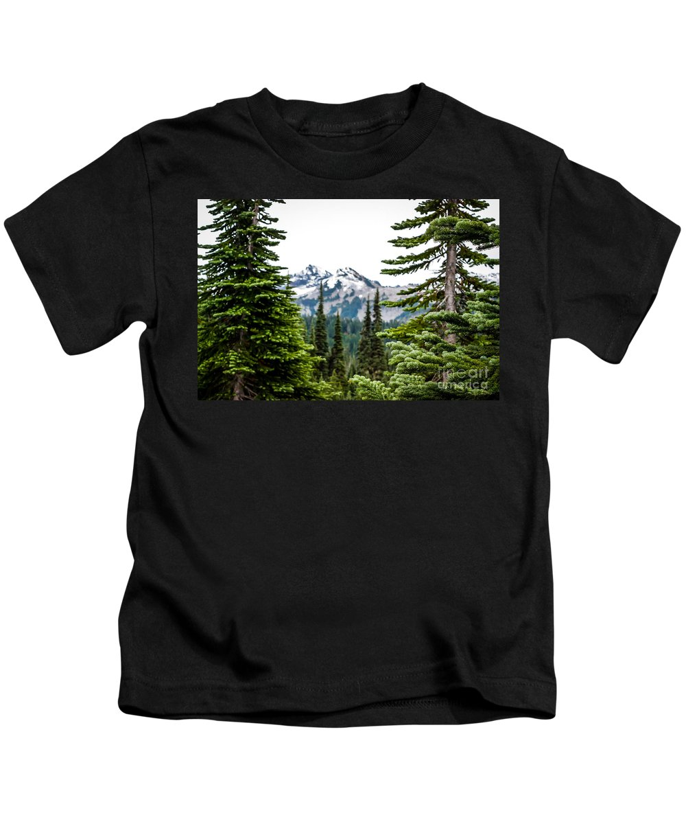 Pacific Northwest Kids T-Shirt featuring the photograph Mt. Rainier Framed by DAC Photography