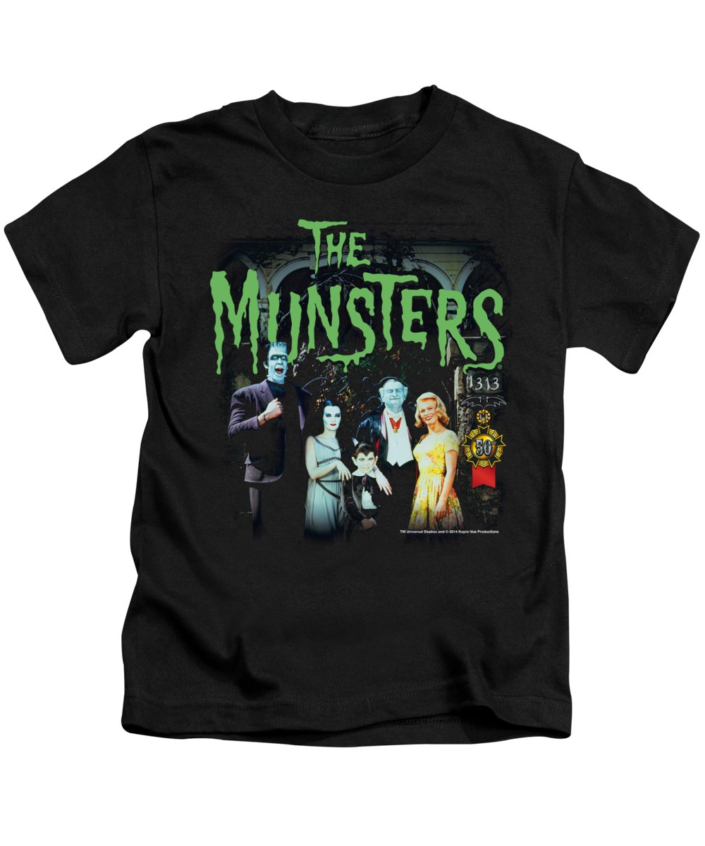 Kids T-Shirt featuring the digital art Munsters - 1313 50 Years by Brand A