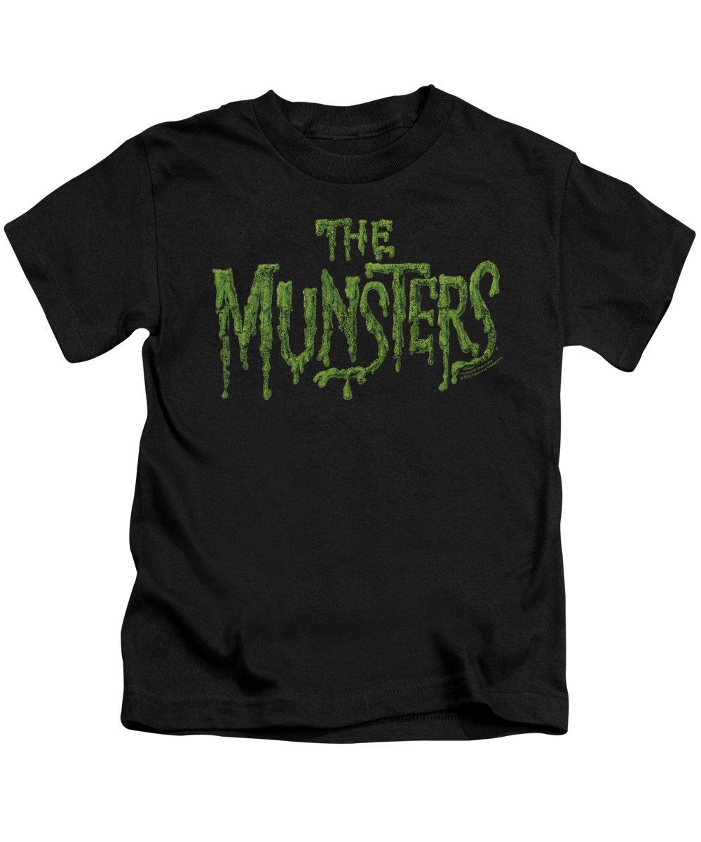Munsters Kids T-Shirt featuring the digital art Munsters - Distress Logo by Brand A
