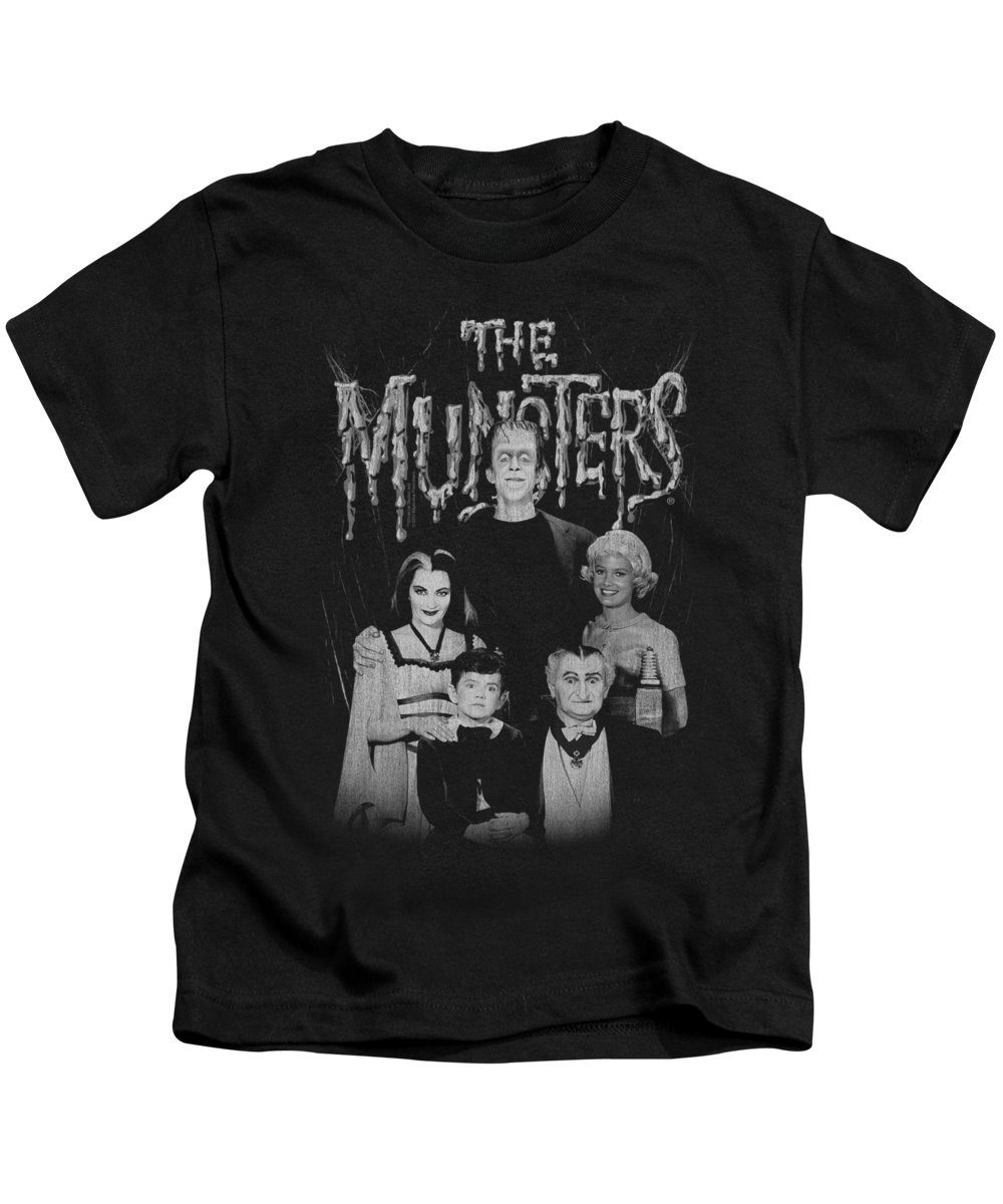 Munsters Kids T-Shirt featuring the digital art Munsters - Family Portrait by Brand A