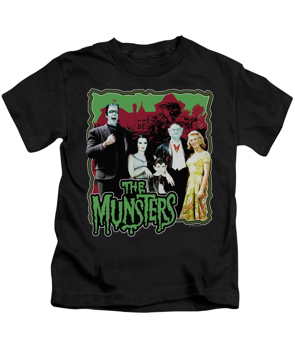Munsters Kids T-Shirt featuring the digital art Munsters - Normal Family by Brand A