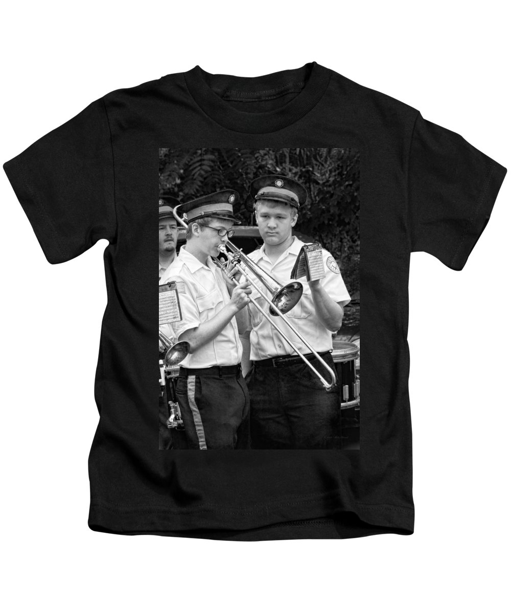 Music Kids T-Shirt featuring the photograph Music - Trombone - A Helping Hand by Mike Savad