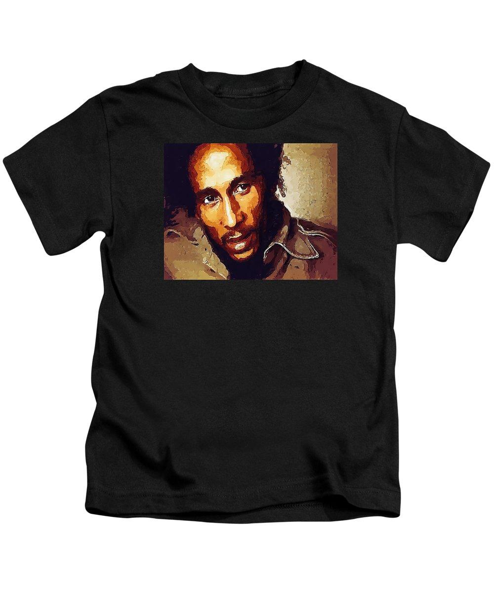 Portrait Kids T-Shirt featuring the drawing Rastafari by Philip Gresham