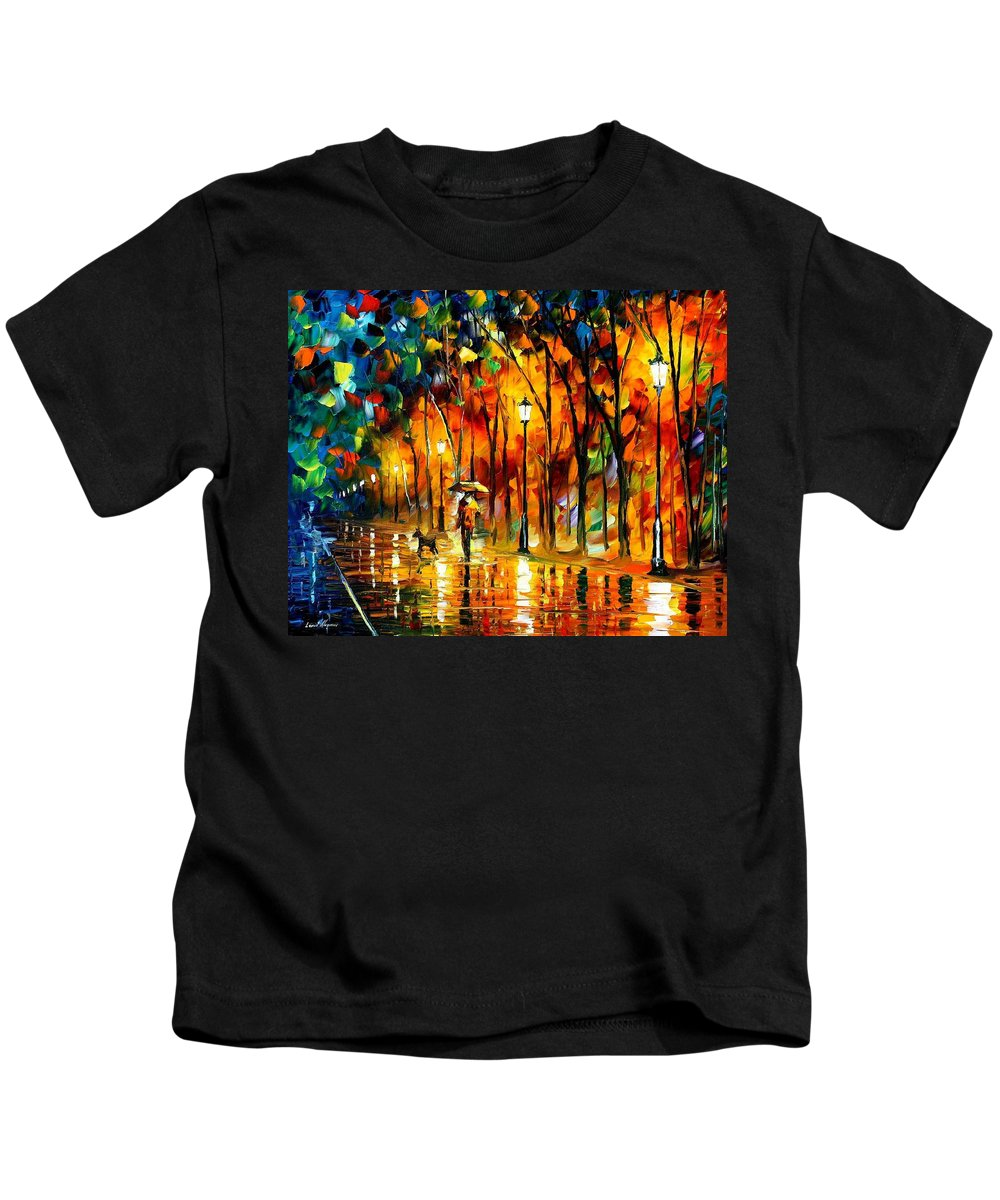 Oil Paintings Kids T-Shirt featuring the painting My Best Friend - Palette Knife Oil Painting On Canvas By Leonid Afremov by Leonid Afremov
