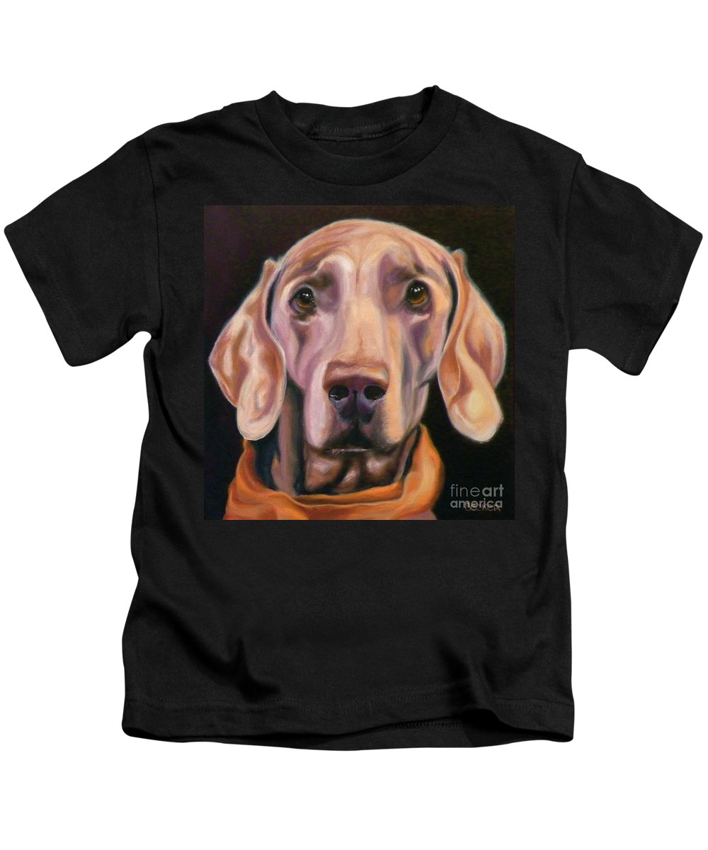 Dog Kids T-Shirt featuring the painting My Kerchief by Susan A Becker