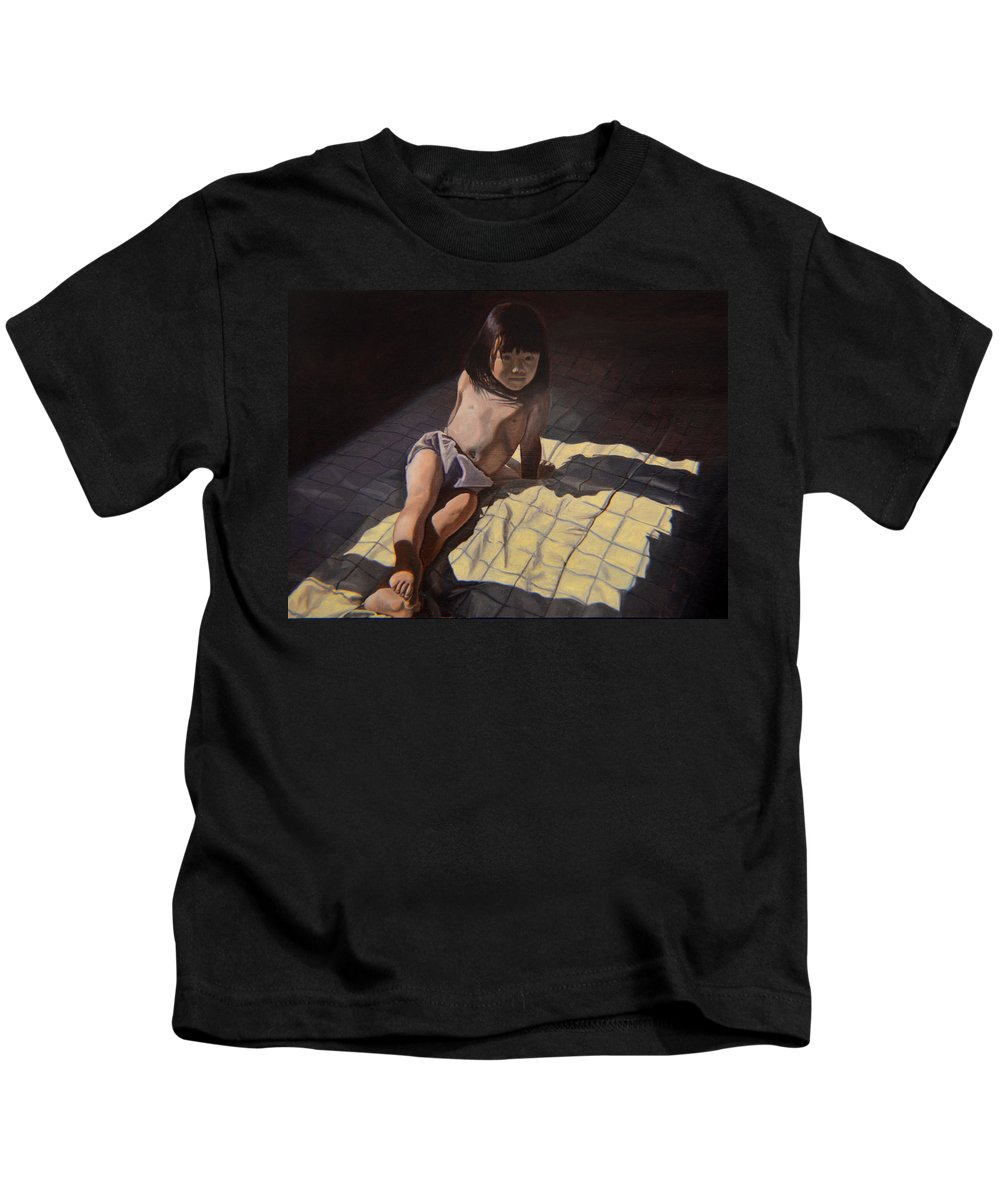 Figure Kids T-Shirt featuring the painting My Little Cheese Cake - Wah Zhee Tah by Thu Nguyen