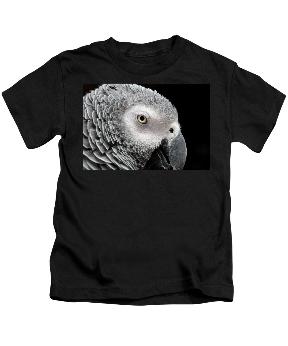 African Grey Parrot Kids T-Shirt featuring the photograph My Name Is Bogie by Betty LaRue