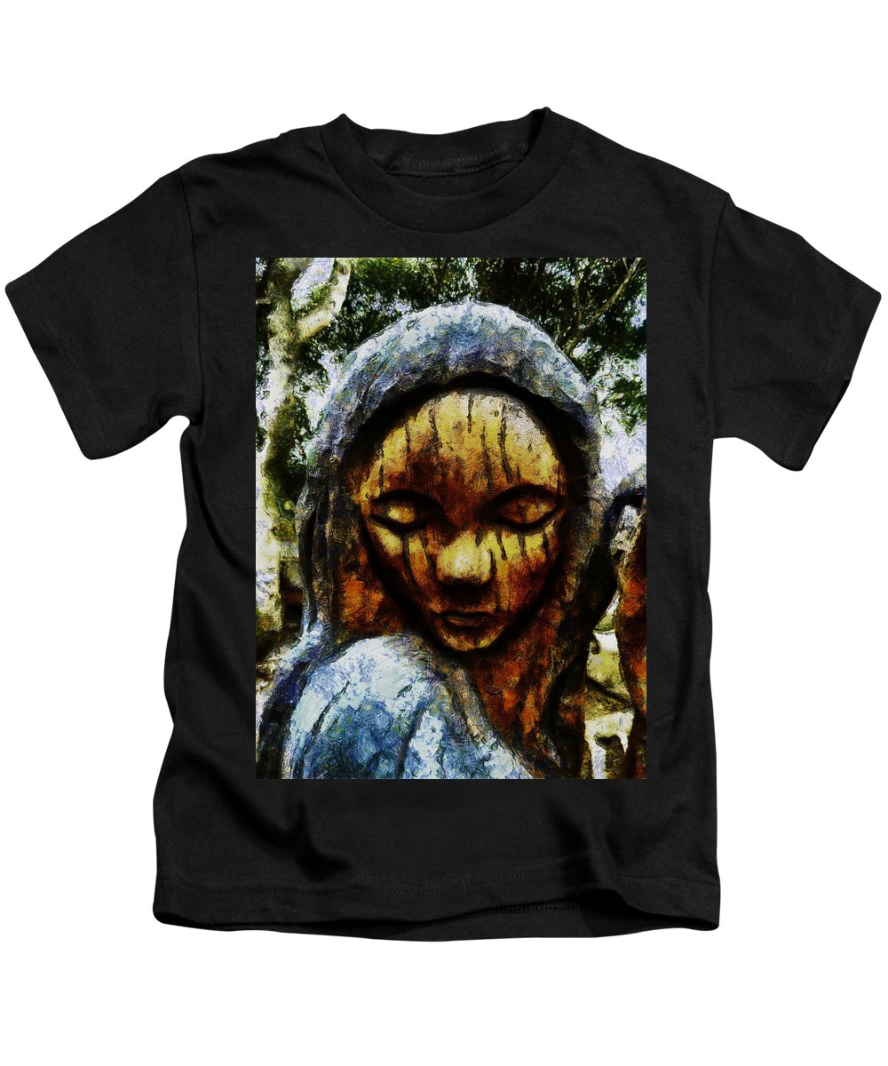 Sadness Kids T-Shirt featuring the digital art My Tears Fall From The Sky by Steve Taylor