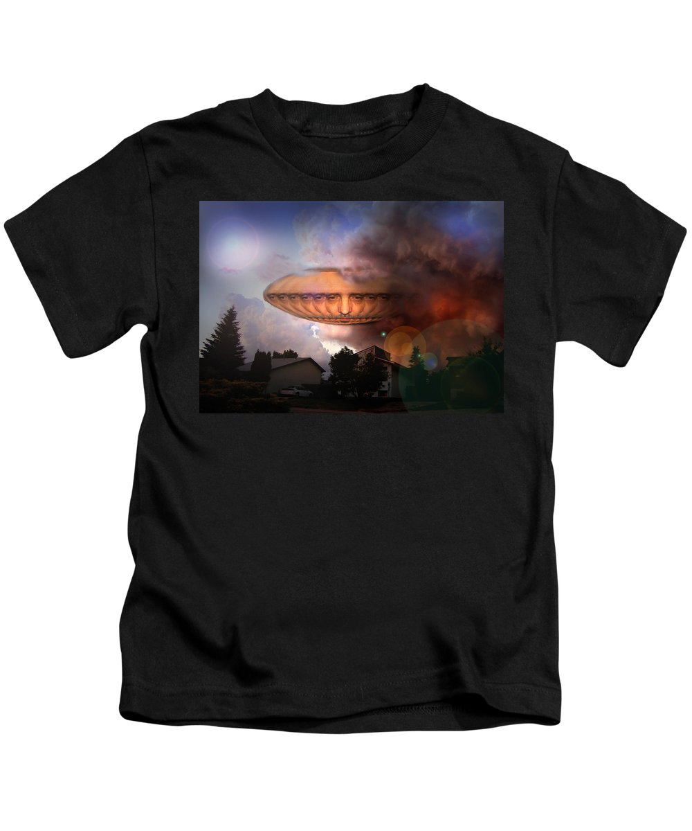 Surrealism Kids T-Shirt featuring the digital art Mystic Ufo by Otto Rapp