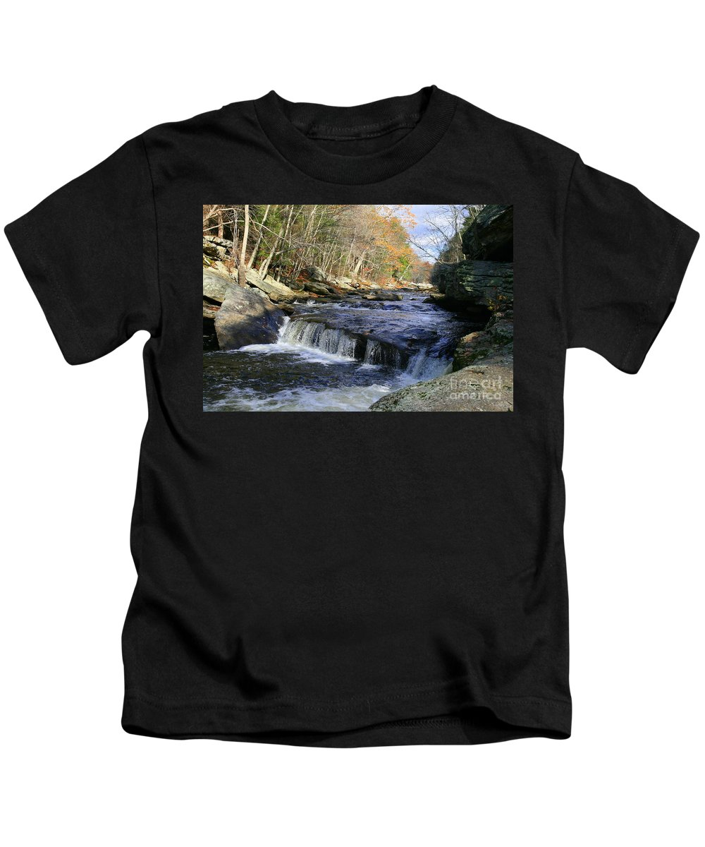 River Kids T-Shirt featuring the photograph Natchaug River Falls by Neal Eslinger
